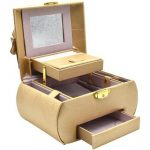 Jewelry Organizer Box with Mirror Pullout Drawer, Designer – Style 7