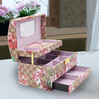 Jewelry Organizer Box with Mirror Pullout Drawer, 11 Section - Floral Print Light