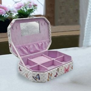 Jewelry Organizer Box with Mirror, 6 Section - Pink Butterfly Print