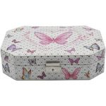 Jewelry Organizer Box with Mirror, 6 Section – Pink Butterfly Print