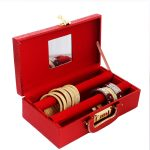 Wooden 2 Pieces Two Rod Bangle Storage Box, (Maroon)