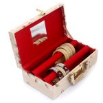 Wooden 2 Pieces Two Rod Bangle Storage Box, (Gold)